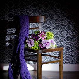 chair by Jennifer Hawk - Artistic Objects Furniture ( woodfloor, chair, blanket, serene, wallpaper, flowers, Chair, Chairs, Sitting )