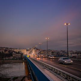 by Milos Vasic - City,  Street & Park  Street Scenes ( crossing, traffic, cars, lines, night, bridge )