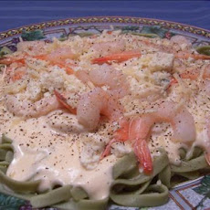 Shrimp Fettuccine Alfredo over Spinach Noodles