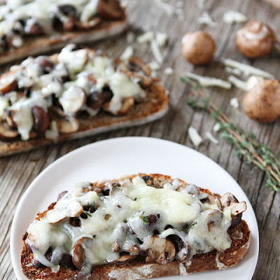 Roasted Mushroom and Gruyere Toasts