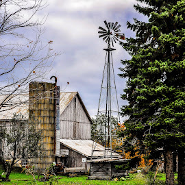 Autumn Windmill by Brooks Travis - Buildings & Architecture Other Exteriors ( farm, amish, orange, buggy, barn, cloudy, leaves, silo, windmill )