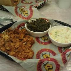chopped chicken, coleslaw, collard greens