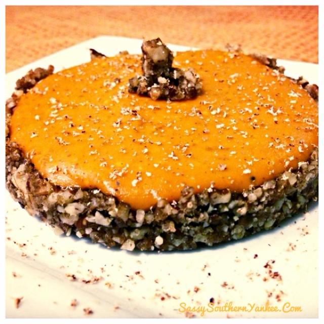 White Chocolate Pumpkin Cheesecake with a Pecan Pie Crust Recipe ...