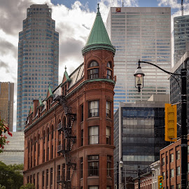 Old and New by Jack Brittain - City,  Street & Park  Street Scenes ( old, building, new, canada, toronto, street, ontario, architecture )