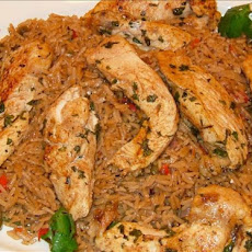 Chicken Tenders With Spicy Rice and Red Peppers