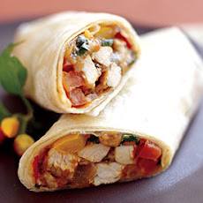Turkey Burritos with Salsa and Cilantro