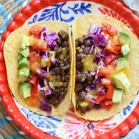Rainbow Tacos With Tangy Mango Dressing