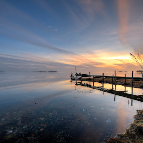 A pieceful place by Kim  Schou - Landscapes Waterscapes ( kim schou, hdr, sunset, nakskov fjord, lindelse )