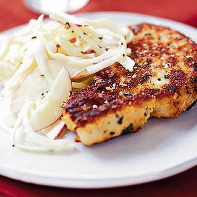 Crisp sage & Parmesan pork with red apple coleslaw