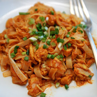 Shredded Red Chicken Curry with Rice Noodles