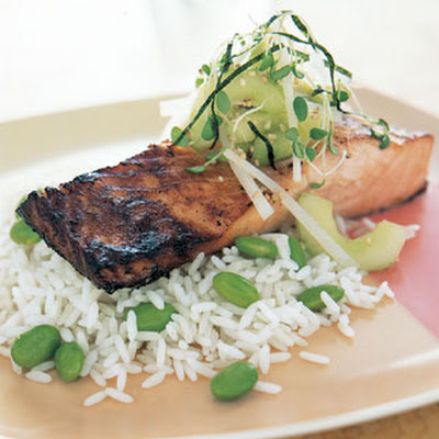 Miso-Marinated Salmon with Cucumber-Daikon Relish