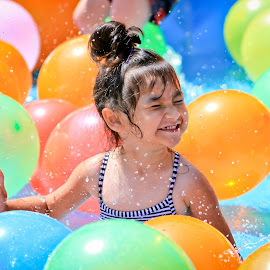 Laughter by Jay Mackenzie - Babies & Children Children Candids ( playing, water, laughing, kids, balloon, swimming )
