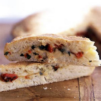 Fontina and Red Pepper-Stuffed Garlic Focaccia