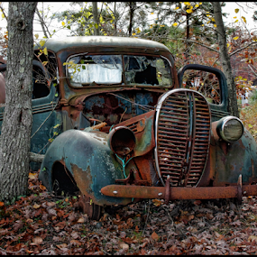 Days Gone By by Bonnie Rovere - Artistic Objects Antiques ( car, blue, autumn, fall, trees, brown, leaves, rust, color, colorful, nature )