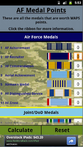 Air Force Medal Points