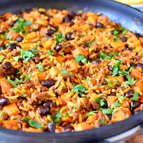 Mexican Chorizo, Sweet Potato and Black Bean Rice Skillet