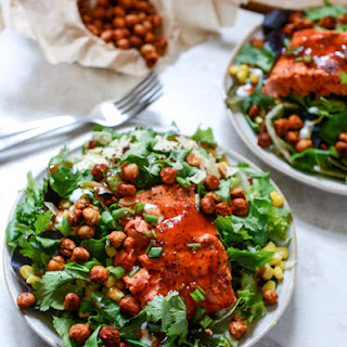BBQ Salmon and Crispy Chickpea Salads