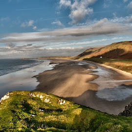 Rhossili beach by Loizos Christodoulides - Landscapes Beaches ( mountanins, hills, uk, wales, sea, rhossili beach, southwales )