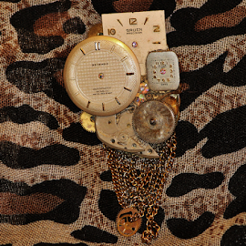 Brooch made with old watches by Priscilla Renda McDaniel - Artistic Objects Jewelry ( several watches, brooch, handmade, jewelry, 17 jewels, watches, object )