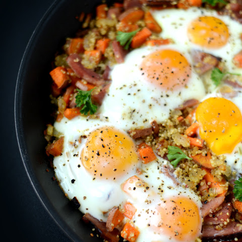 Ham n' Quinoa Hash with Baked Eggs