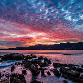 Let It Burn by Patrick Loo - Landscapes Sunsets & Sunrises ( clouds, sunset, seascape, landscapes, landscape, dusk,  )