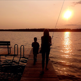 by Lori Taylor - Instagram & Mobile iPhone ( sunset, family, lake, fishing, dock )