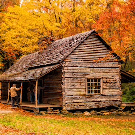 Smoky Mountain cabin by Lowell Griffith - Buildings & Architecture Public & Historical ( cabin, log cabin, smoky mountains, fall color )