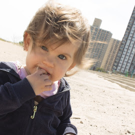 Eating Sand by Shaindy Plumer - Novices Only Portraits & People ( wind, sweater, sand, windy, baby girl, eating, beach )