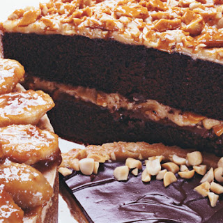 Chocolate Cake with Milk Chocolate-Peanut Butter Frosting and Peanut Butter Brittle