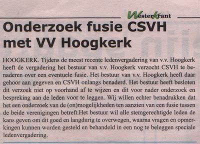 onderhandeling vvH en CSVH