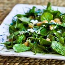 Arugula Chickpea Salad with Feta and Balsamic-Tahini Vinaigrette