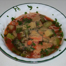 San Francisco Vegetable Soup over Angel Hair Pasta