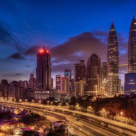KL City Skyline by Edwin Ng - City,  Street & Park  Skylines ( urban, blue sky, dawn, malaysia, cityscape, sunrise, architecture, capital, kl, kuala lumpur )