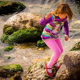 At the seaside by Adrian Ioan Ciulea - Babies & Children Children Candids ( girl, sea, pink, seaside, cute,  )