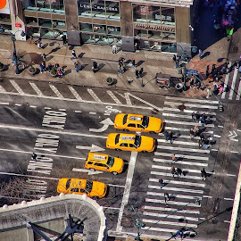 The taxi race by Jose Figueiredo - City,  Street & Park  Street Scenes ( taxi, empire state building, new york city )