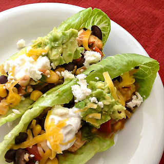 Chipotle Chicken Lettuce Wraps with Black Beans, Corn & Tomatoes