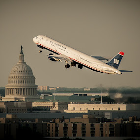 Over the Capitol and Nation's Capital by Ivan Anchev - Transportation Airplanes ( flight, metropolis, the capitol, airplanes, airplane, boeing, nation's capital, potomac, us congress, city )