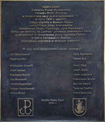 Plaque commemorating those killed for helping in Karski's escape from a hospital in Nowy Sącz.