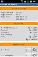Screenshot of Batavia Air Mobile Reservation
