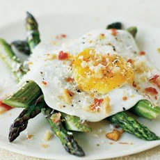 Fried Eggs with Asparagus, Pancetta and Bread Crumbs
