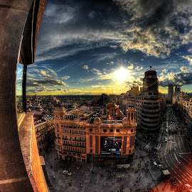 Madrid, Gran Via  by Rino Calori - City,  Street & Park  Vistas ( sunset, madrid, el corte ingles, gran via, spain )