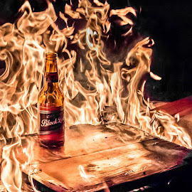 by Wahan Shahbazian - Artistic Objects Other Objects ( chair, flames, beer, wood, camping, south africa, barbeque, bottle, fire )