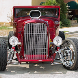 Hot Rod by Greg Moore - City,  Street & Park  Street Scenes ( muscle car, way back machine, hot rod, red and ready, all chrome )