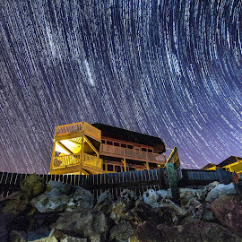 Star Trails over Matanzas Inlet by Jason Green - Buildings & Architecture Homes ( staugustine, matanzas, stars, florida, 904 )