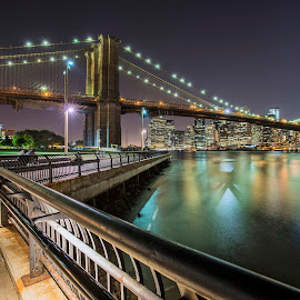 Manhattan NY Brooklyn Bridge Park by Jimal Essa - City,  Street & Park  Night