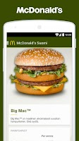 Screenshot of McDonald's Suomi