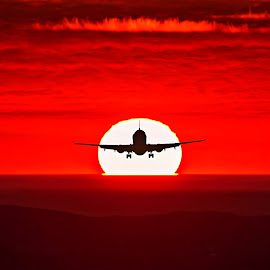 Travel by Stefania Loriga - Transportation Airplanes ( red, sky, sunset, airplane, black, sun )