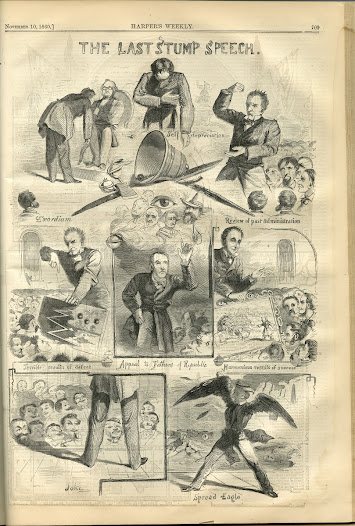<i>Harper's Weekly</i> ridiculed the flurry of last-minute political speeches in the issue that appeared the week of the 1860 election.