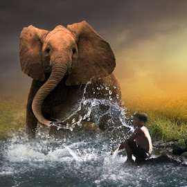 by Abhirama Arro - Digital Art Animals ( child animals water )