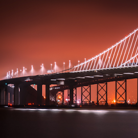 San Francisco bay bridge by Richard Depinay - City,  Street & Park  Skylines ( lights, san, bay, california, oakland, francisco, night, bridge, pont )